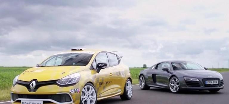 Audi R8 Plus vs Renault Clio Cup racecar